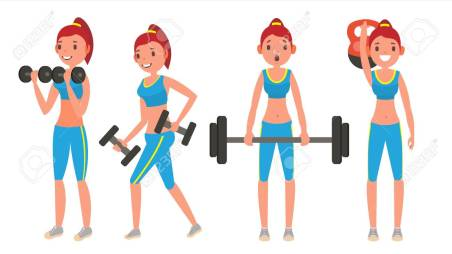 Fitness Girl Vector. Different Poses. Doing Fitness Exercises. Lunges, Squats, Plank. Woman Fitness. Flat Cartoon Illustration